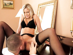Sexy blonde gets seduced by boyfriend while dressing up